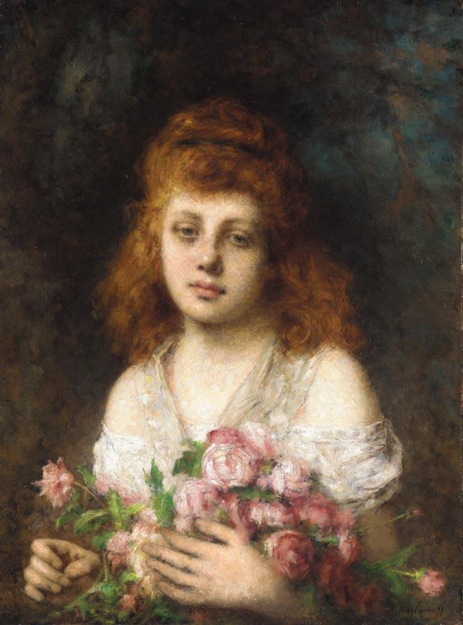 Alexej Alexejewitsch Harlamoff - Page 7 Auburn-Haired_Beauty_with_Bouqet_of_Roses