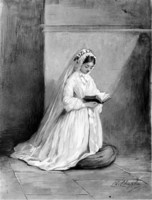 Girl in Confirmation Dress at Prayer (c. 1860)