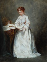 Girl in White, reading