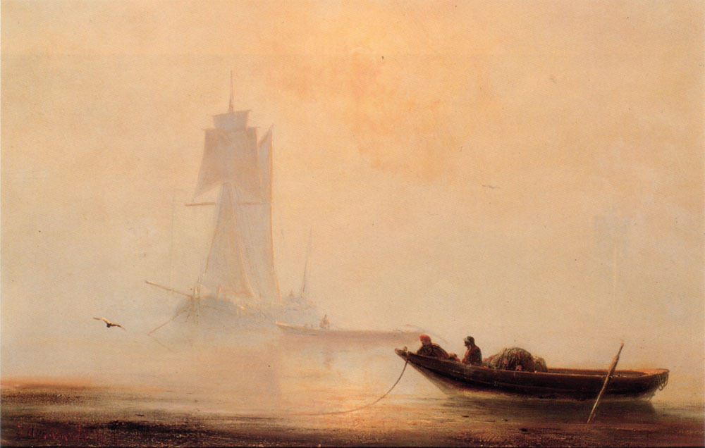Mirrored lines aivazovsky for Fishing boat painting