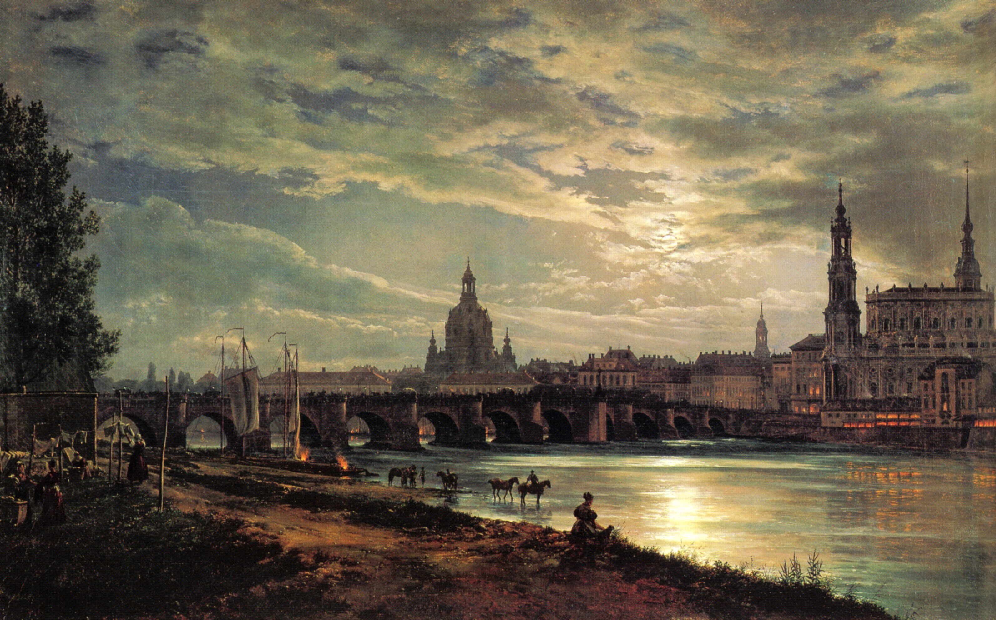 Sightswithin Com View Of Dresden At Full Moon 1839