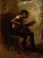 The Dancing Lesson: The Banjo Player, study (1877)