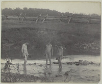 Three Boys Wading in a Creek (1883)