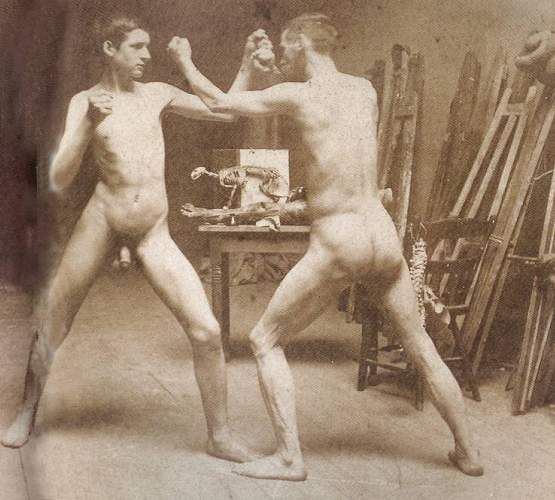 Two Nude Boys Boxing in Atelier Adult's Ice Cream