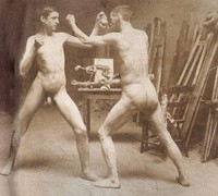 Two Nude Boys Boxing in Atelier